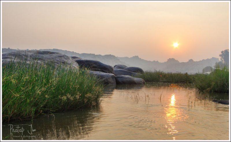 Sunrise at Hampi near the river