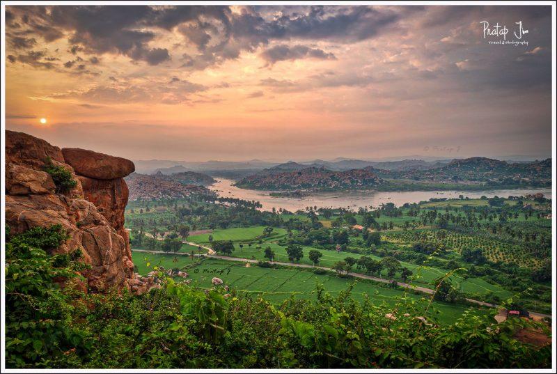 Early morning sunrise climb at Anegundi or Anjanadri hill