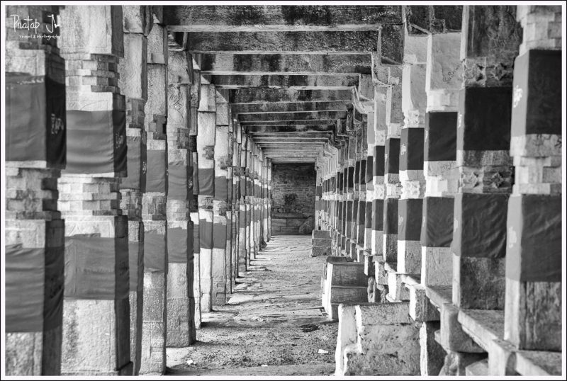 Pillars at the corridor surrounding the Kalyani