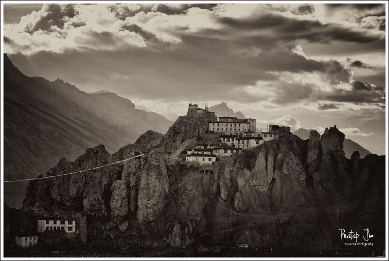 Monchrome images of Dhankar monastery