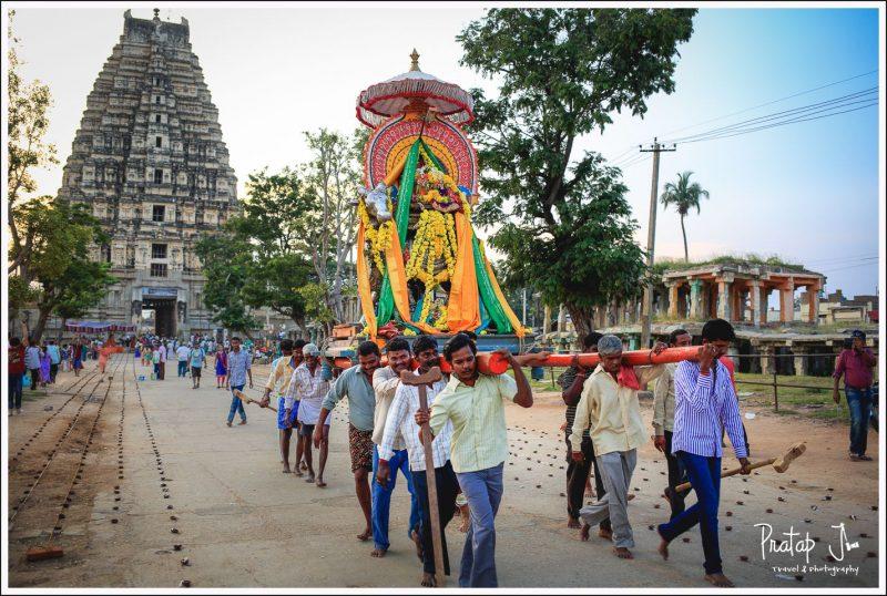 Lakshmi the elephant leads the idol at Virupaksha outside the temple.