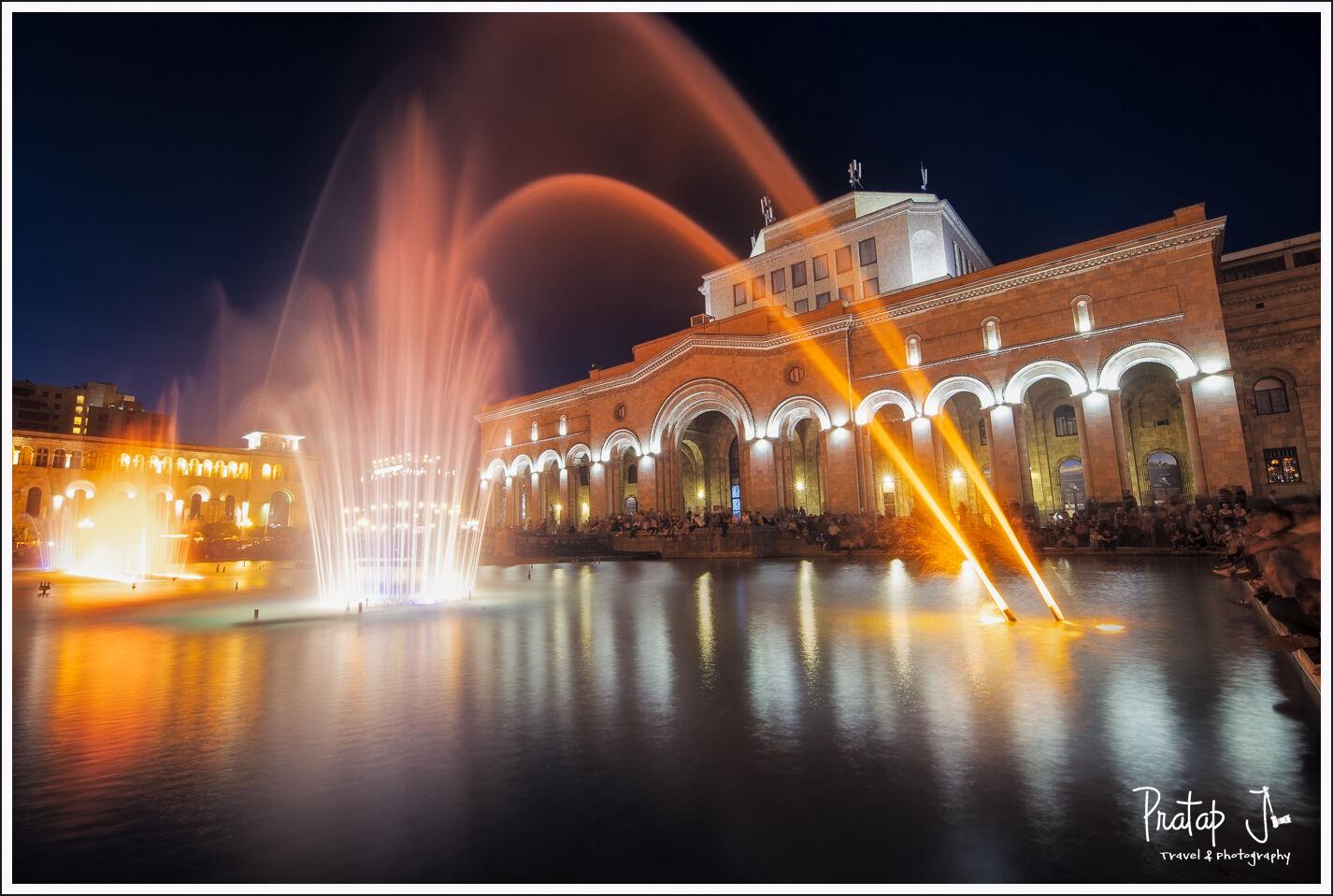 musical fountain at the republic square of Armenia