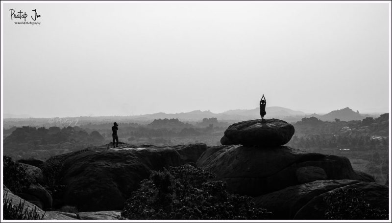Yoga and photography at Malyavanta during sunset