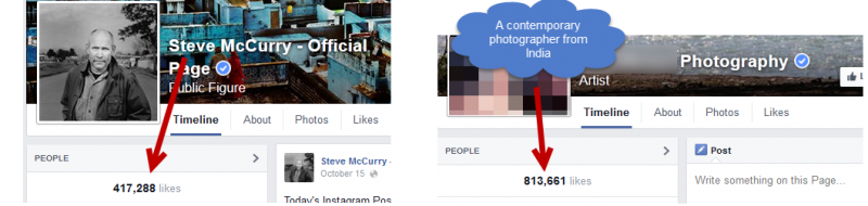 Popularity comparison between photographers
