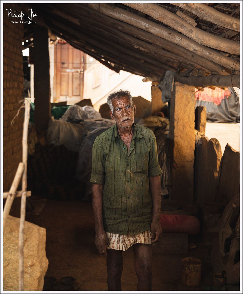 Portrait of an old clay pot maker at Narayanpura