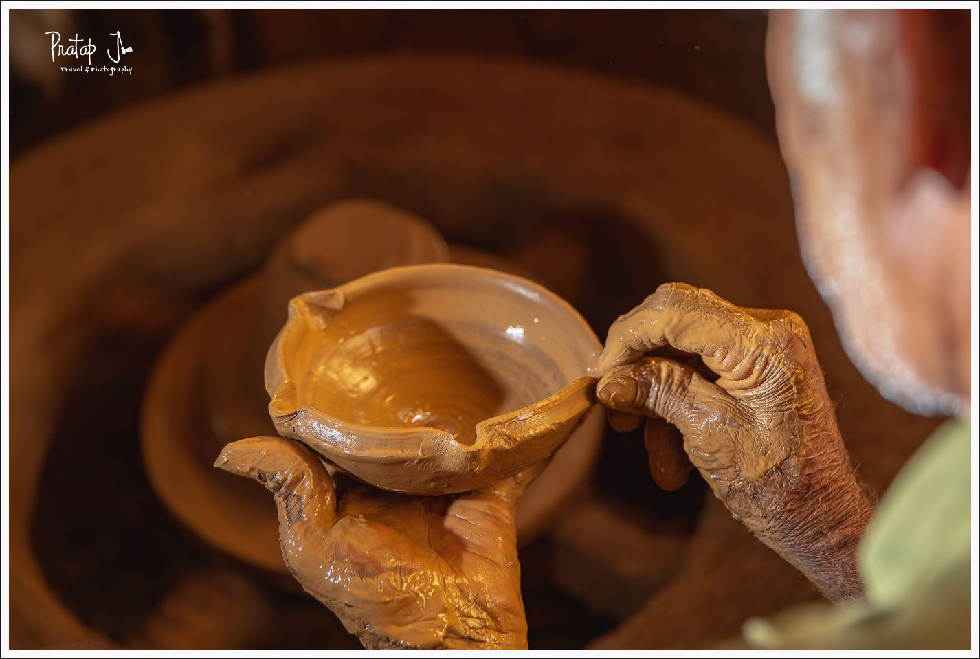 Making a clay diya