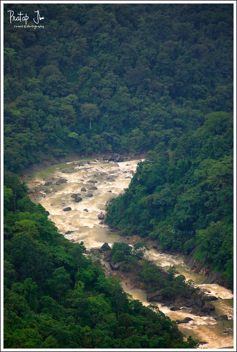 Sharavathi river down the gorge near the hydro station at Jog Falls