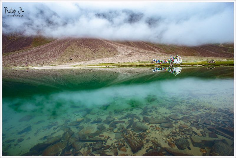Turquoise waters at Chandratal Lake