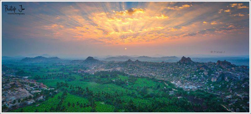 Panoramic view of sunrise from Mathanga Hill