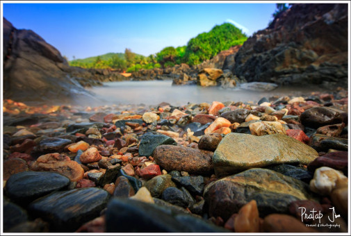 Close up of Colorful Rocks Near the Shore at Gokarna