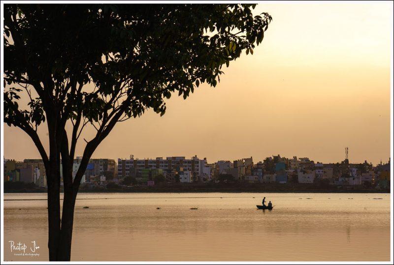 Fishermen at Madiwala Lake in Bangalore