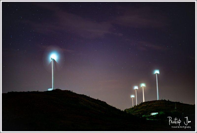 View of the Windmills at Chitradurga at Night