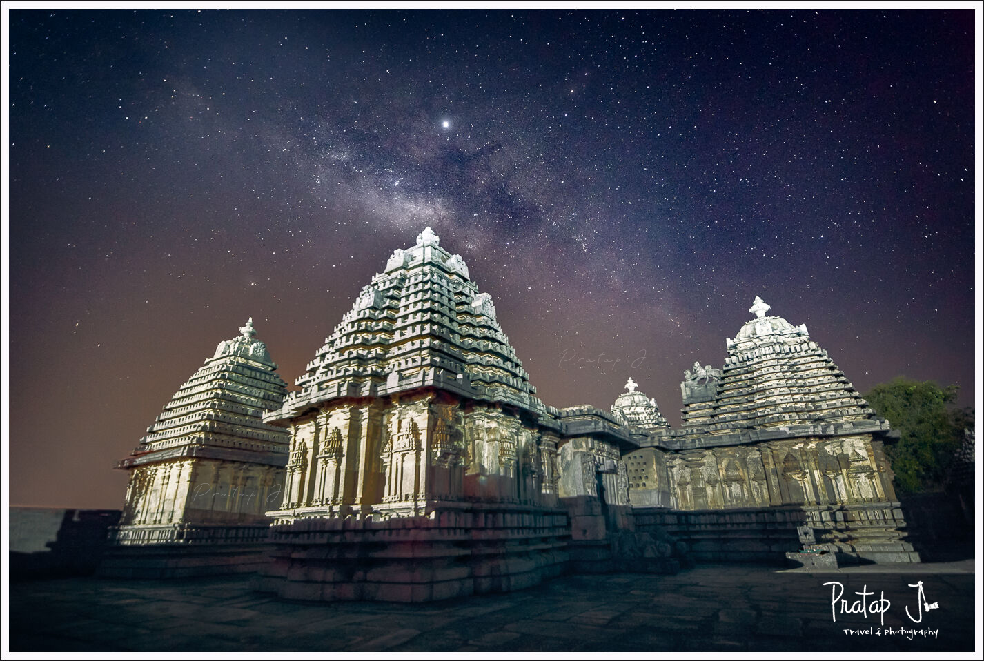 Milky Way over an ancient Hindu Hoysala Temple in Karnataka