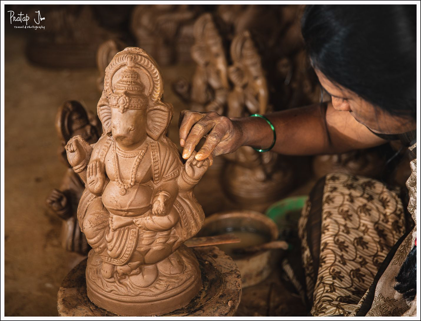 Clay Ganesha from a mould