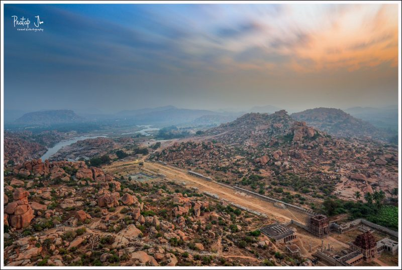 View of the Tungabahdra River and Rocky Terrain of Hampi from Ma